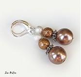 Náušnice - Hnedé perličky - 2722622