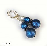 Náušnice - Modré perličky - 2723269