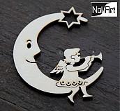 Dekorácie - Mesiac s anjelom s trúbkou - 272597