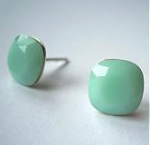 Náušnice - mint alabaster - 2761142