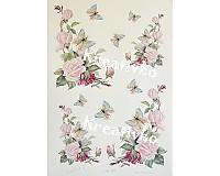 - Decoupage papier - Ruže a motýle - 2781930