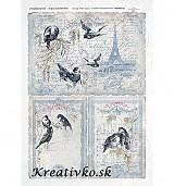 - Ryžový papier - R 0185  Vtáky v Paríži (šedé) - 2784443