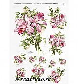 - Ryžový papier - R 0220  Ružový kvet a konvalinky - 2784498
