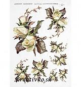 - Ryžový papier - R 0252  Biele ruže - 2784706