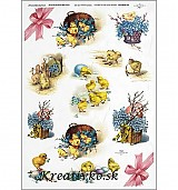 - Ryžový papier - R 0289  Kuriatka a nezábudky - 2785130