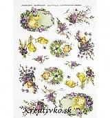- Ryžový papier - R 0299  Kuriatka a fialky - 2785152