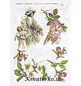 - Ryžový papier - R 0315  Dáma a čerešňové kvety - 2785185