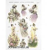 - Ryžový papier - R 0319  Dámy s kvetmi - 2786532