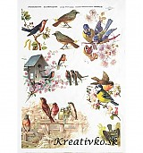 - Ryžový papier - R 0325  Vtáky na konárikoch - 2786549