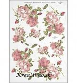 - Ryžový papier - R 0359  Jemné ružové ruže - 2787000