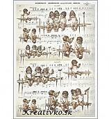 - Ryžový papier - R 0375  Andelíčky na lavičke - 2787067
