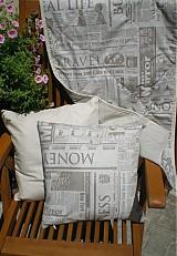 Úžitkový textil - Šili sme na zákazku - prehozy a vankúše novinový vzor... - 2812750
