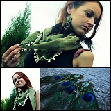 Šatky - Výpredaj zelená s bambuľkami... - 2819268