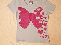Tričká - Ružový motýlik a srdiečka - 2856397
