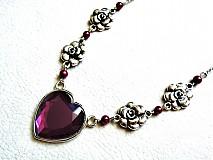 Náhrdelníky - purpurové srdce - 2857720