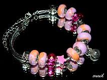 - Růžový náramek ve stylu Pandora-NAF026 - 2897703
