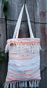 Kabelky - Tkaná taška pestrá bielo-béžovo-ružová - 2901025