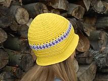 Háčkovaný klobúk - žltý SKLADOM