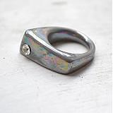 Prstene - Prsteň sivý / RING RING perleťový vzhled - 2978236