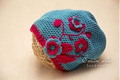 Detské čiapky - Modrá kvetinková šmolková :) - 2990156