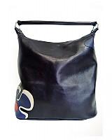 Kabelky - Kožená kabelka Maťka s modrým kvetom
