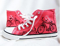 Obuv - červené s bicyklom  - 3010952