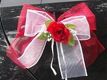 Dekorácie - Dvojfarebné mašle s ružou na kľučky auta - 3029310