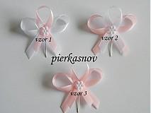 svadobné pieko - bielo - ružové s bielym kvietkom