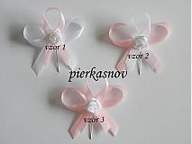 svadobné pieko - bielo - ružové s bielou ružičkou