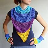 Šatky - Bavlnená žlto fialovo modrá šatka - 3067093