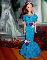 Hračky - modrozlaté šaty pre barbie - 307963