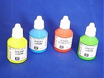 Farby-laky - Štartovací balíček - 4 ks fluorescenčné farby na textil - 3080143