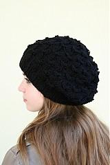 - Pletená čepice s přetahovaným vzorem-černá - 3086371