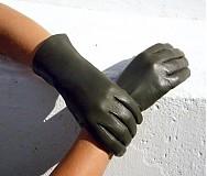 Rukavice - Olivové dámské kožené rukavice s hedvábnou podšívkou - celoroční - 3112973
