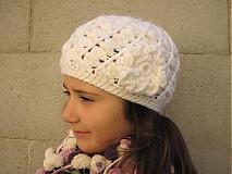 Detské čiapky - Biely kvet - 3123525
