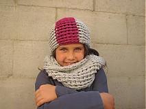 Detské čiapky - Sivá s trochou fialky - 3125181