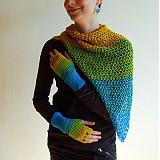 Šatky - Bavlnená zeleno modro žltá šatka - 3125843