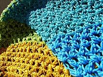 Šatky - Bavlnená zeleno modro žltá šatka - 3125883