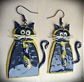 Náušnice - ..elegantné mačičky.. - 312777