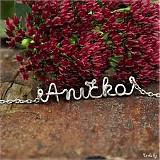 Náhrdelníky - Náhrdelník s menom z postriebreného drôtu: 6-8 písmen (Anička) - 3135066