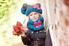 Detské čiapky - Oceľovomodrá súpravka - 3170622