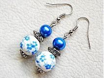 Náušnice - modrý porcelán - 3173951