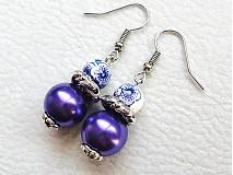 Náušnice - fialový porcelán - 3174014