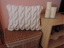 Úžitkový textil - Biely pletený vankúš - 3176284