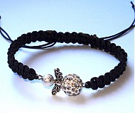 Náramky - Čierny s biely anjelikom - 3178884