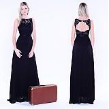 Šaty - Spoločenské šaty s krajkou a holým chrbátom - 3220291
