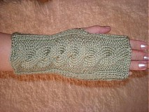 Rukavice - Rucne pletene rukavice-zelené - 322866