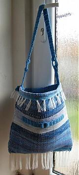Kabelky - Tkaná modrá taška - 3232387