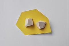 Náušnice - Geometrické náušnice   minimal arch   white - 3234484