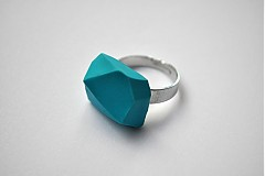 Prstene - Geometrický nastaviteľný prsteň | minimal arch | turquoise - 3234980